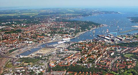 Luftbild der Kieler Förde